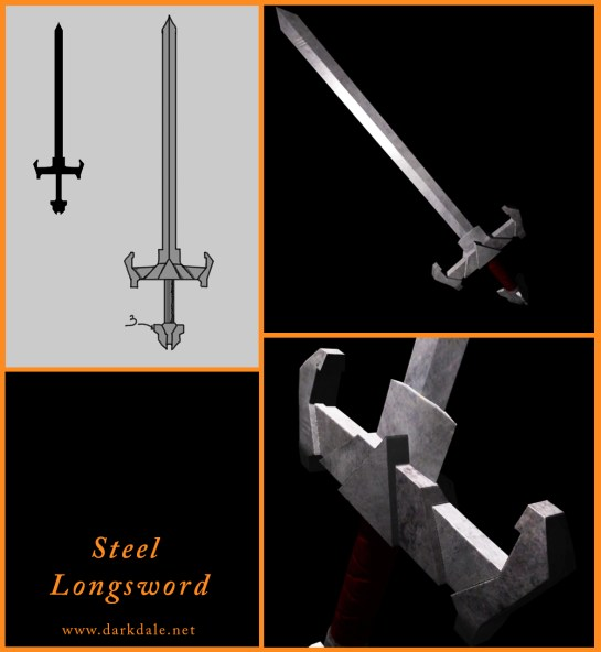 Steel Longsword, from sketches to final game model.