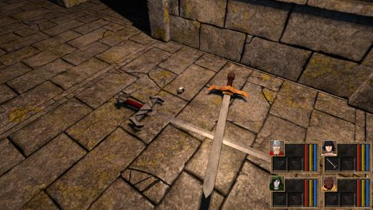 A couple of sword and a silver ring lying on the sewers floor.