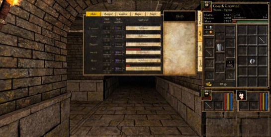 The skills panel of the user interface. (And the Sewers wallset WIP in the background)