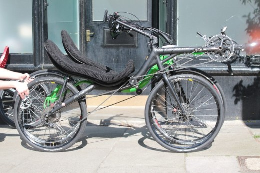 """A somewhat unfair comparison between the High Baron and the smaller (26"""") wheeled MetaBike I initially tried out at Laid Back Bikes. If you mentally raise the black MetaBike up a touch, you'll get the idea. Maybe."""