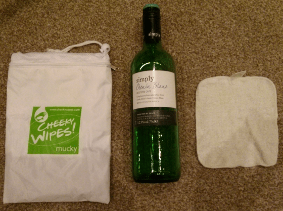 Bag, wipe and a bottle of wine.