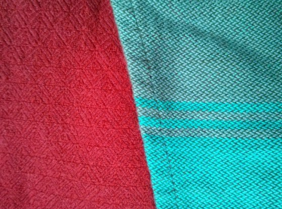 Close up of the weave of both wraps.