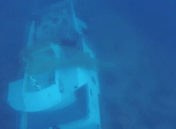 Still taken from footage of the sunken craft. Click for the video (BBC).