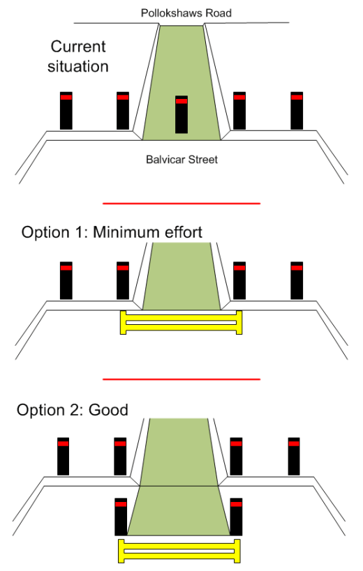 Two options for dealing with the problem, and the current layout.