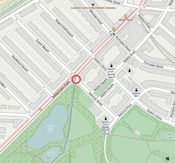 A map of the area surrounding Balvicar St