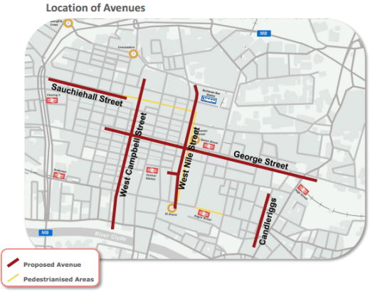Map showing proposed avenue locations