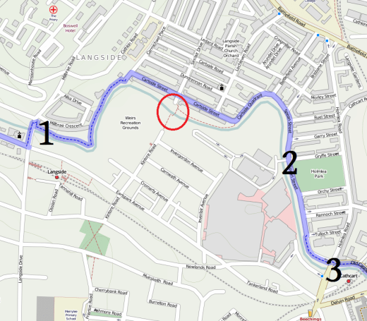 Map of the places cyclists can cross White Cart Water in this area.
