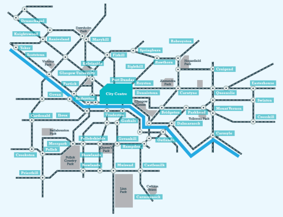 Styalised map of the network