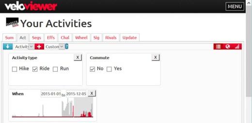 VeloViewer filter options