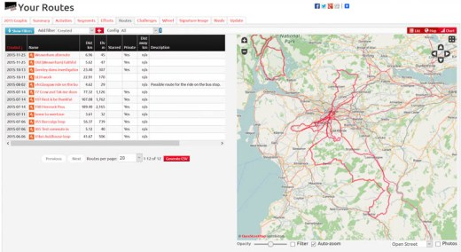 VeloViewer routes tab