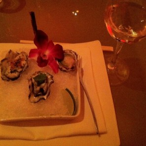 Alsatian Kummomoto oysters Japanese salsa, lime ceviche, jalapeño slice