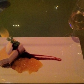 Sauvignon blanc dessert wine (I think. Not sure what she said.) Ginger peach cheesecake