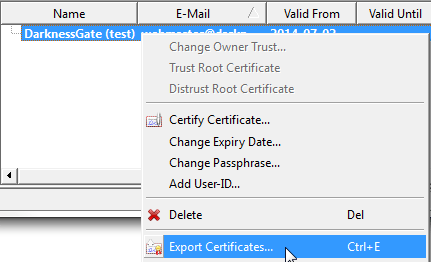 Figure 15: Export your public key certificate