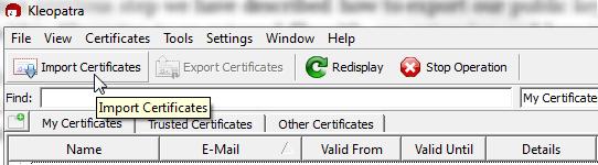 Figure 17: Click Import Certificates to import new certificates to Kleopatra Program