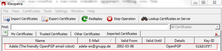 Figure 19: The newly imported certificate appears in main Kleopatra program