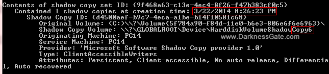 Figure 3: Screen of shadow copies available on drive C: showing only the last restore point which carry the number 6