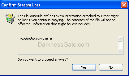 Figure 17: Warning message after moving a file with ADS stream to a partition with FAT formatting