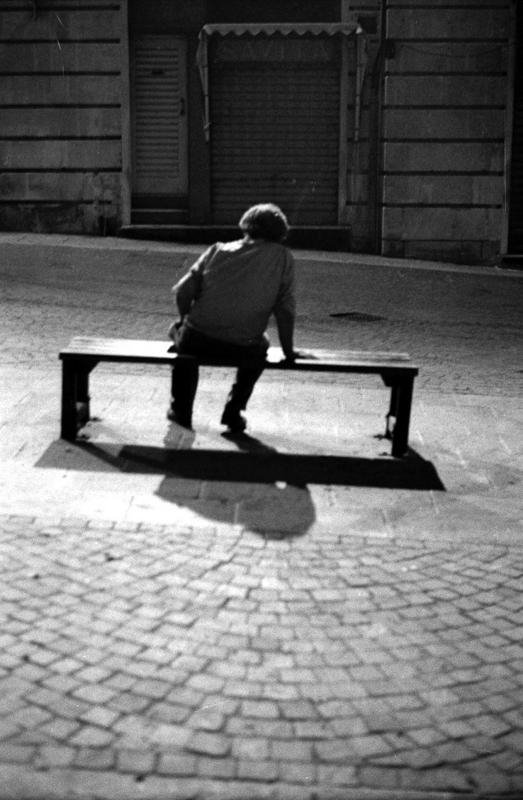 Alone at night, Pushed, asa400,asa1600,35mm film, 120 film, black and white,Valletta, Darkroom Malta