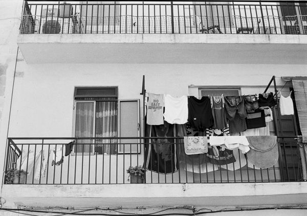 No easy summer, Valletta, Darkroom Malta, 35mm Film, Black and White, Clothes out to Dry