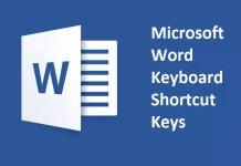 Microsoft Word Keyboard Shortcut Keys List