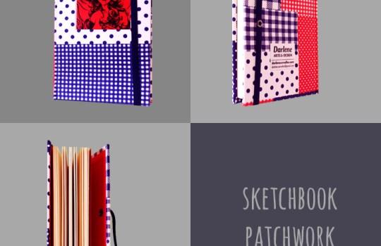 Sketchbook Patchwork, de Darlene Carvalho. Papelaria Artesanal de Darlene Carvalho. encadernação manual artística.