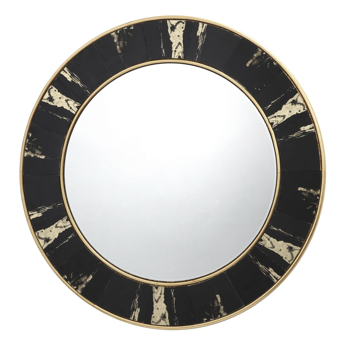 Sidone Round Mirror With Black Gold Foil Detail 80cm