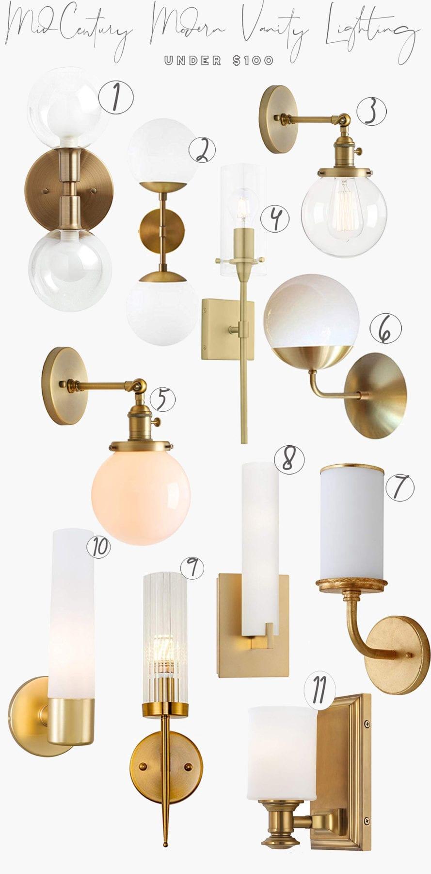mid century modern bathroom light online