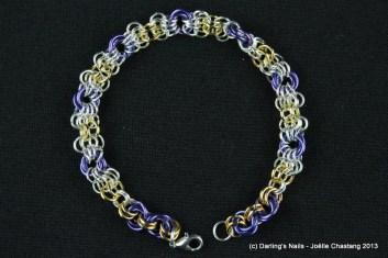 Bracelets en maillons argentés, dorés et mauves prix 25€