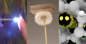 DARPA is pioneering new approaches to advancing materials science for national security: From plasmas cool enough to touch (left), which could transform how thin-films are applied to surfaces; to feather-light materials that are exceedingly strong (center); to using extremely high pressure to incorporate various atoms—such as the metal atoms depicted in yellow and green—into chemical structures, resulting in materials with novel properties (right).