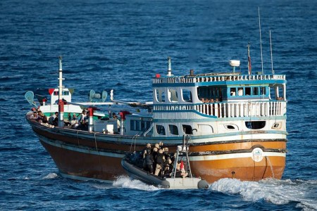The Canadian military stops a suspect vessel which was carrying 500 kilograms of heroin worth approximately $100 million dollars in this file photo from 2013. Photo: Royal Canadian Navy Handout