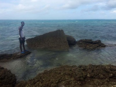 A large swath of mostly underwater ruins just off the coast of Mafia island are unique in their building style and may be the ancient Roman city of Rhapta, says an archaeologist. Photo: Hannah Jane