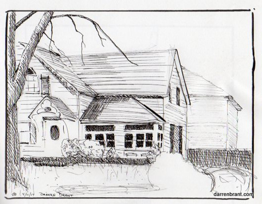 "pen and ink drawing house Thorold Ontario 5"" x 7"""