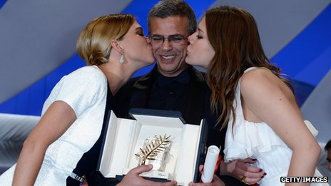 Director Abdellatif Kechiche with actresses Lea Seydoux and Adele Exarchopoulos