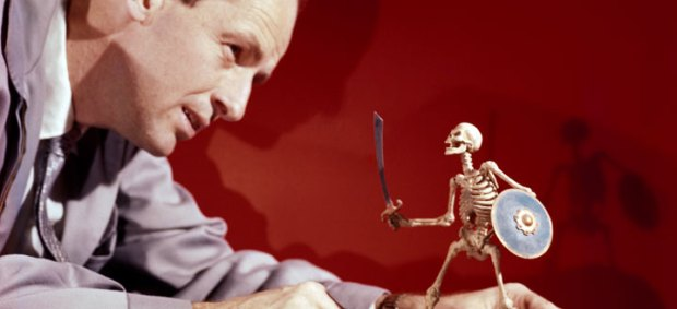 Harryhausen posing one of his skeletons