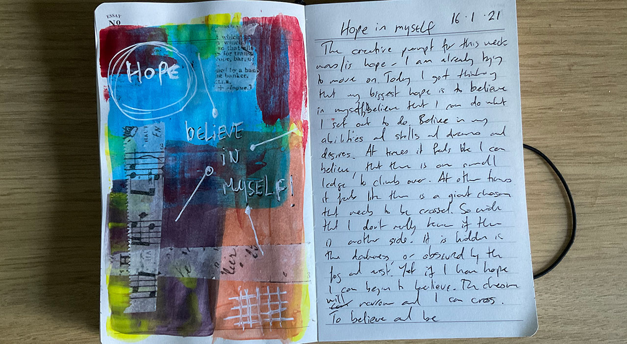 hope - believe in myself art journal page