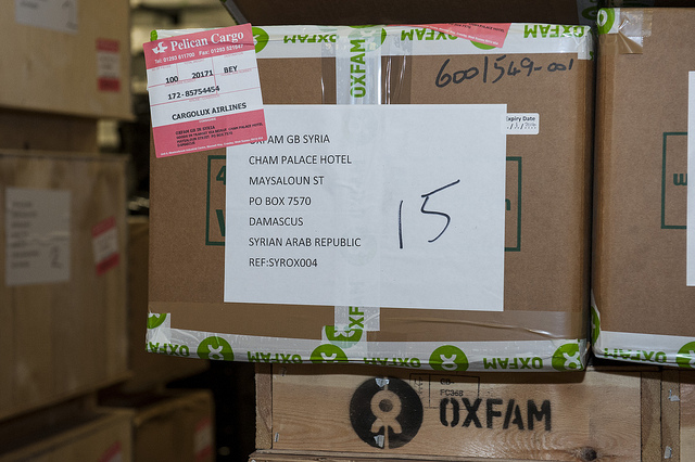 """""""Oxfam loads emergency supplies to be sent to Syria"""" by Oxfam International on Flickr."""