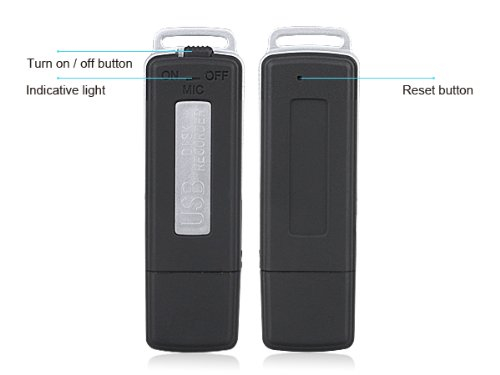 Front and Back of USB Digital Recorder