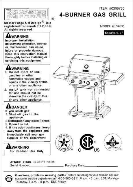 Master Forge 4-Burner Gas Grill Model GD4833