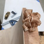 Plane shavings of repaired door veneers