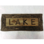 rustic twig lake sign