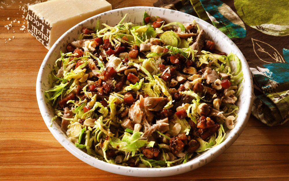 Shredded Brussels Sprouts Salad with Chicken Confit, Pancetta & Hazelnuts Recipe | D'Artagnan