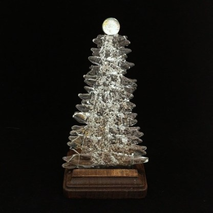 Fused Glass Christmas Tree with Clear Glass
