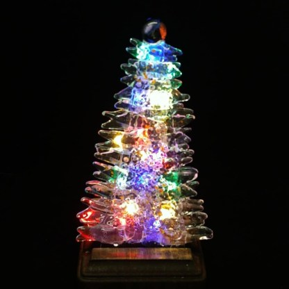 Fused Glass Christmas Tree with Orange Accents and Wood Stand