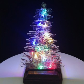 Blue and Red on Clear Fused Glass Christmas Tree with LED Lighting