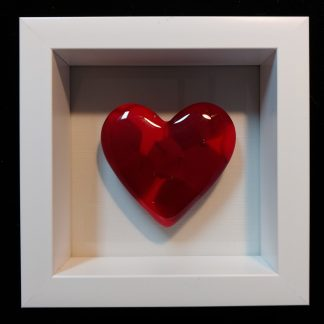 Red Heart in White Shadowbox Frame