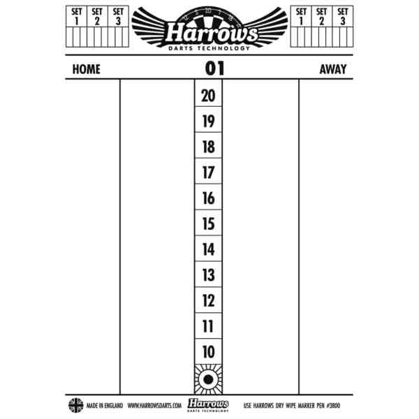 Harrows Dry Wipe Darts Scoreboard with 4 spare pens