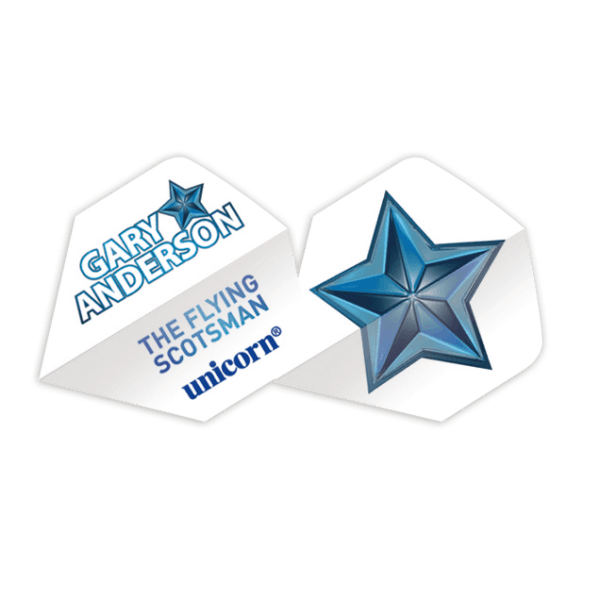 Unicorn Authentic 100 Big Wing Dart Flights - White Star Gary Anderson
