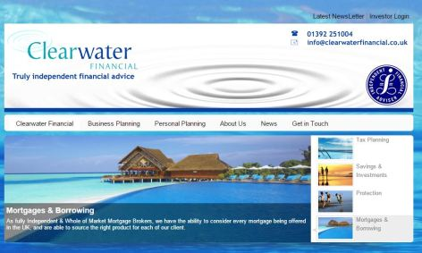 Website for Clearwater Financial - IFA in Exeter