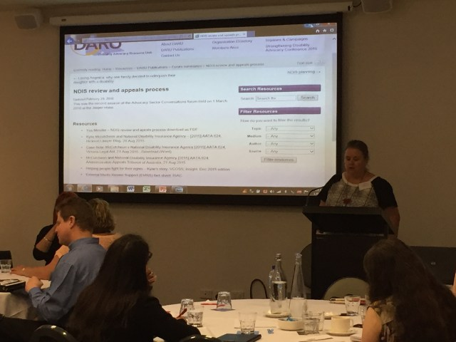 Catherine McAlpine presenting at Advocacy Sector Conversations forum