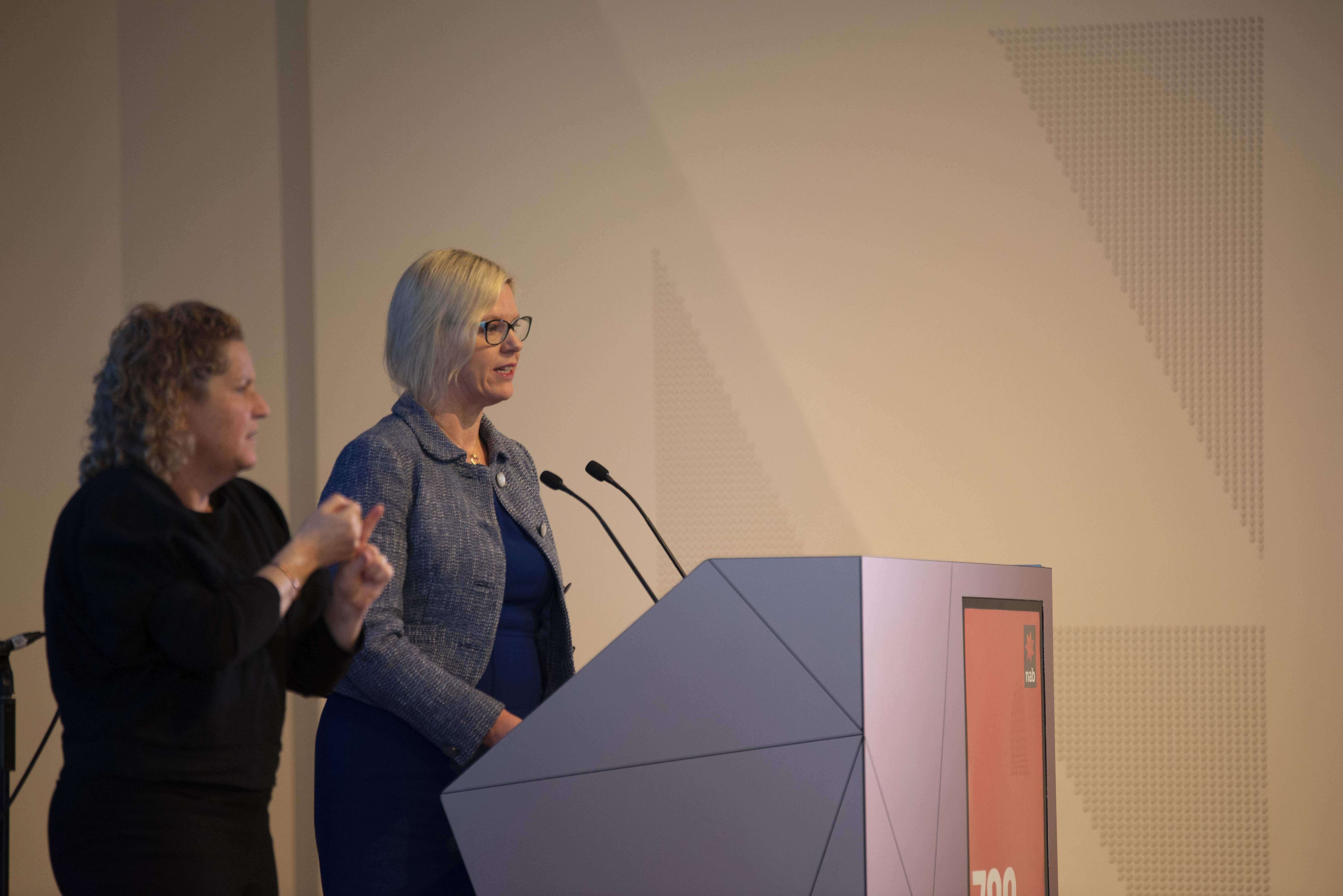 Emma King, CEO VCOSS, The Hon Luke Donnellan MP, Mary Mallett, Melaine Muir